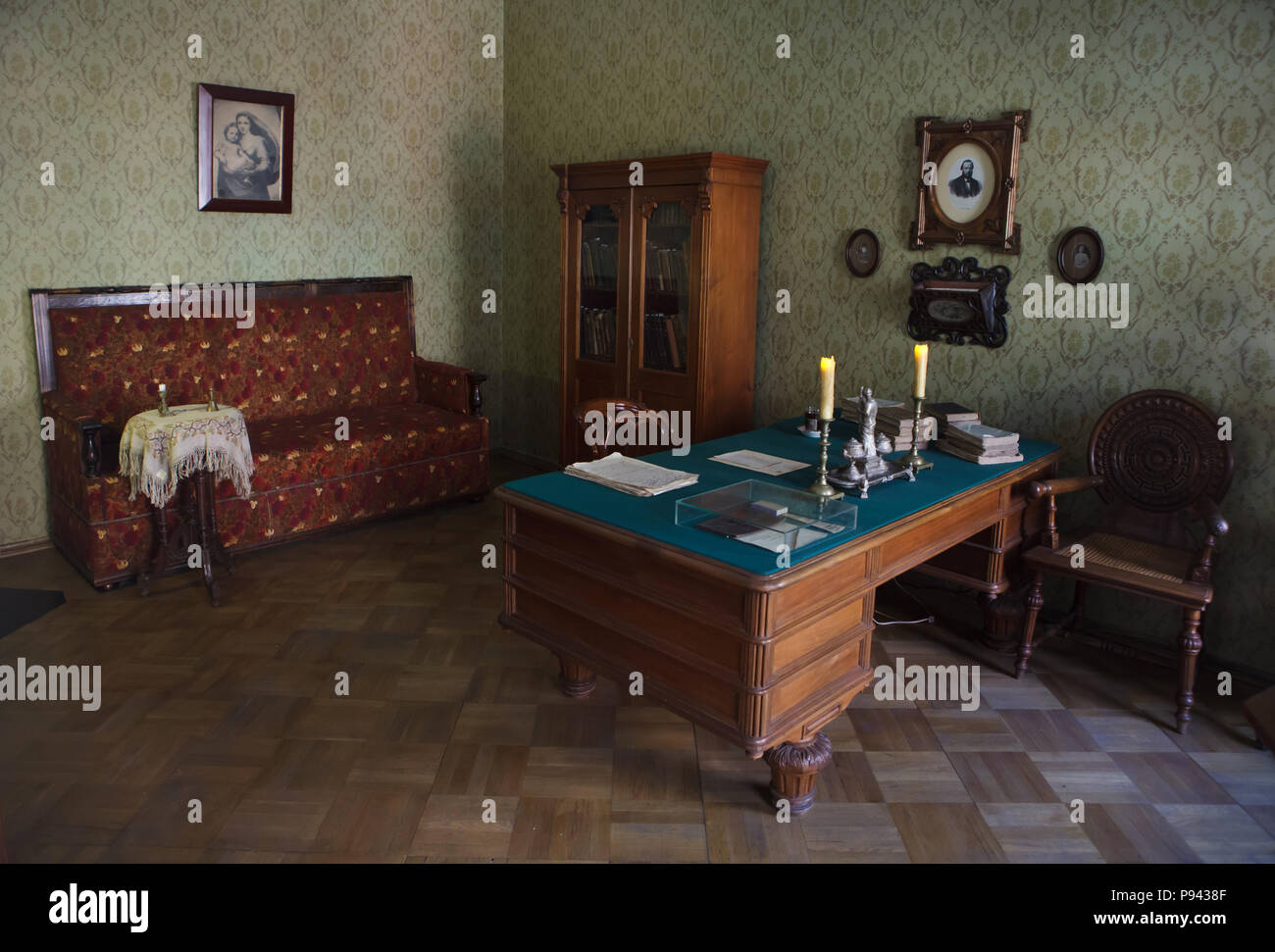 Cabinet of Russian novelist Fyodor Dostoevsky in his memorial apartment in Kuznechny Lane in Saint Petersburg, Russia. Fyodor Dostoevsky lived in the apartment twice during his life: first for a short period in 1846 in the beginnings of his career, and later from October 1878 until his death in February 1881. He wrote his last novel The Brothers Karamazov here. The apartment is now a part of the Dostoevsky Literary Memorial Museum. - Stock Image