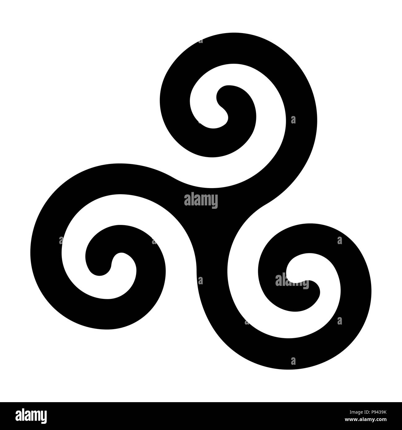 Black celtic spiral triskele on white background. Triskelion. A motif consisting of a triple spiral exhibiting rotational symmetry. Twisted spirals. - Stock Image