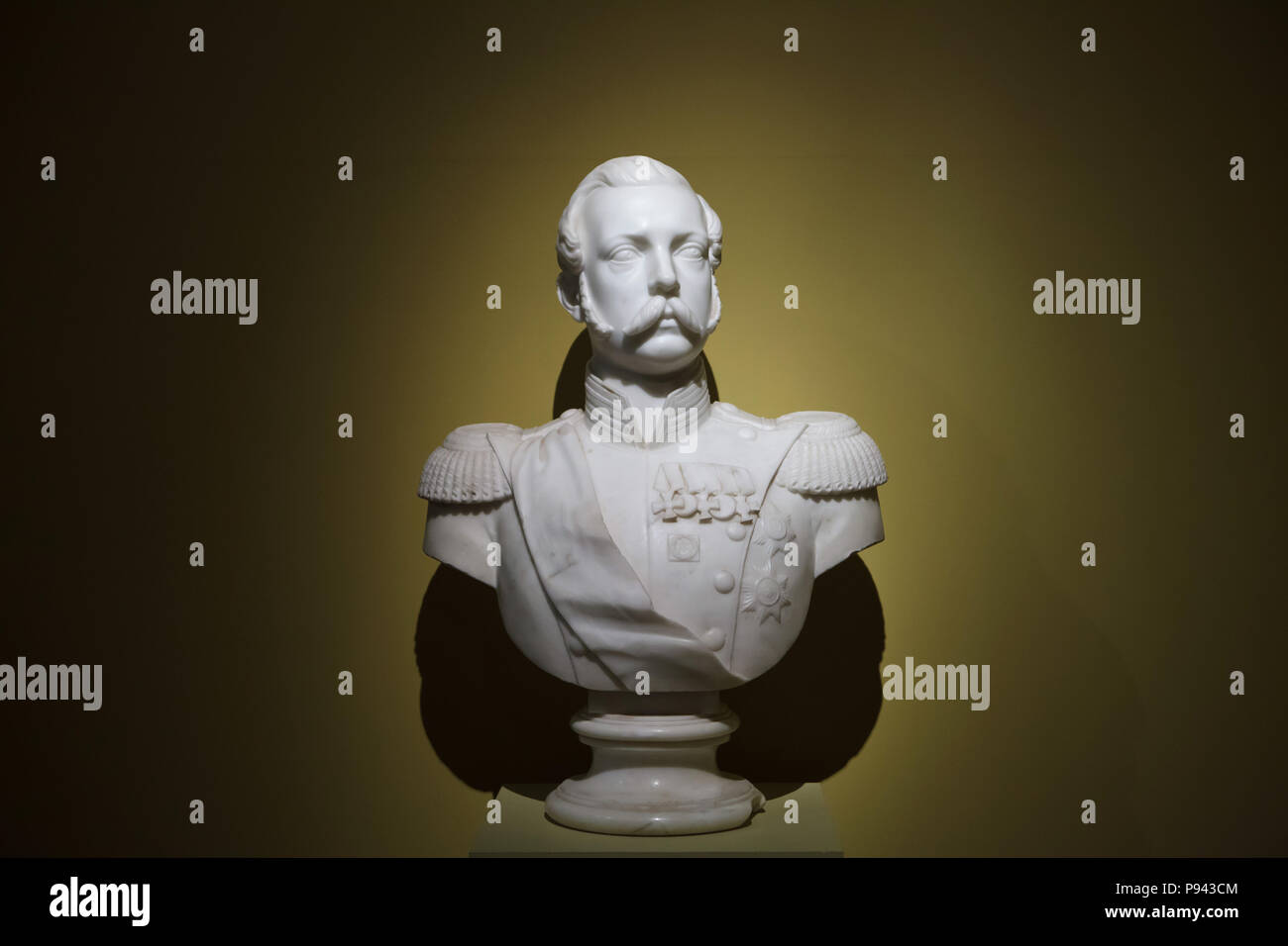 Marble bust of Emperor Alexander II of Russia by Russian sculptor Akim Laveretsky dated from around 1860 on display at the exhibition dedicated to Emperor Alexander II in the State Historical Museum in Moscow, Russia. The exhibition marking the 200th anniversary of the birth of Alexander II runs till 18 October 2018. - Stock Image