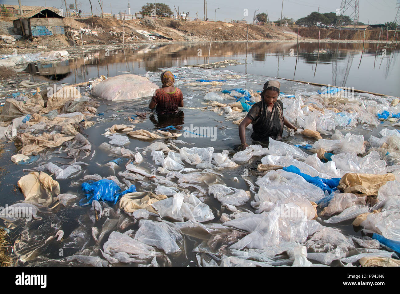 Women working in pond full of toxic waste in Hazaribagh, leather factories / tanneries district, Dhaka, Bangladesh - Stock Image