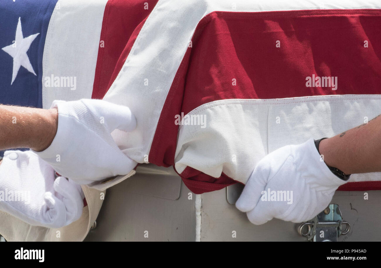 U.S. service members assigned to the Defense POW/MIA Accounting Agency (DPAA) drape a transfer case with the American flag during a repatriation ceremony, Da Nang, Socialist Republic of Vietnam, July 8, 2018. The ceremony was conducted in support of DPAA's mission to provide the fullest possible accounting of our missing personnel to their families and the nation. (U.S. Navy photo by Mass Communication Specialist 2nd Class Claire Farin) - Stock Image