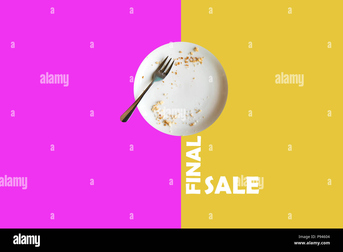 Illustration in the minimalist style of the finish sale. An empty plate with the remains of food means that the goods are quickly bought and need to b - Stock Image