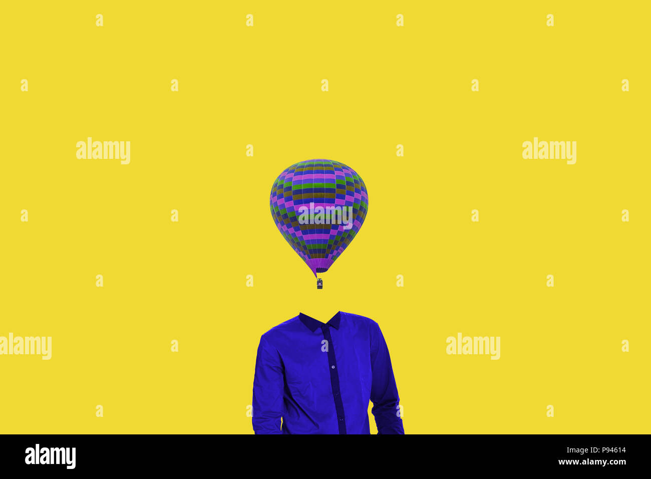 Surrealistic minimal concept. A balloon instead of a human head. Minimalism and surrealism. My idea, design and art work. - Stock Image