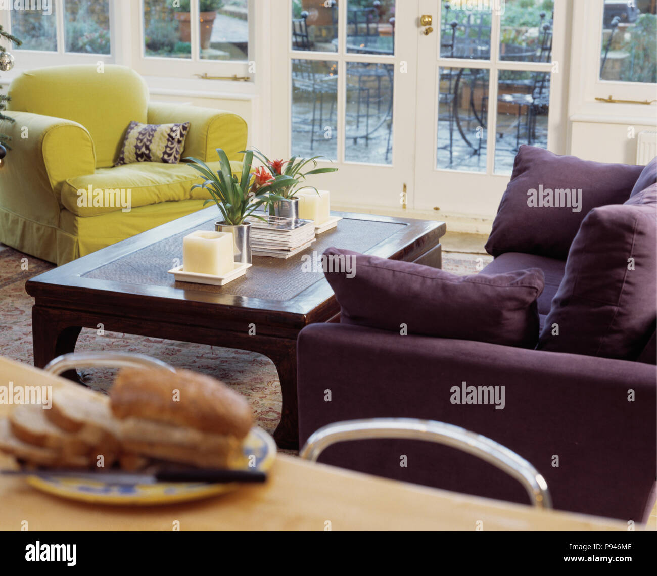 Super Purple Sofa And Lime Green Armchair On Either Side Of Coffee Theyellowbook Wood Chair Design Ideas Theyellowbookinfo