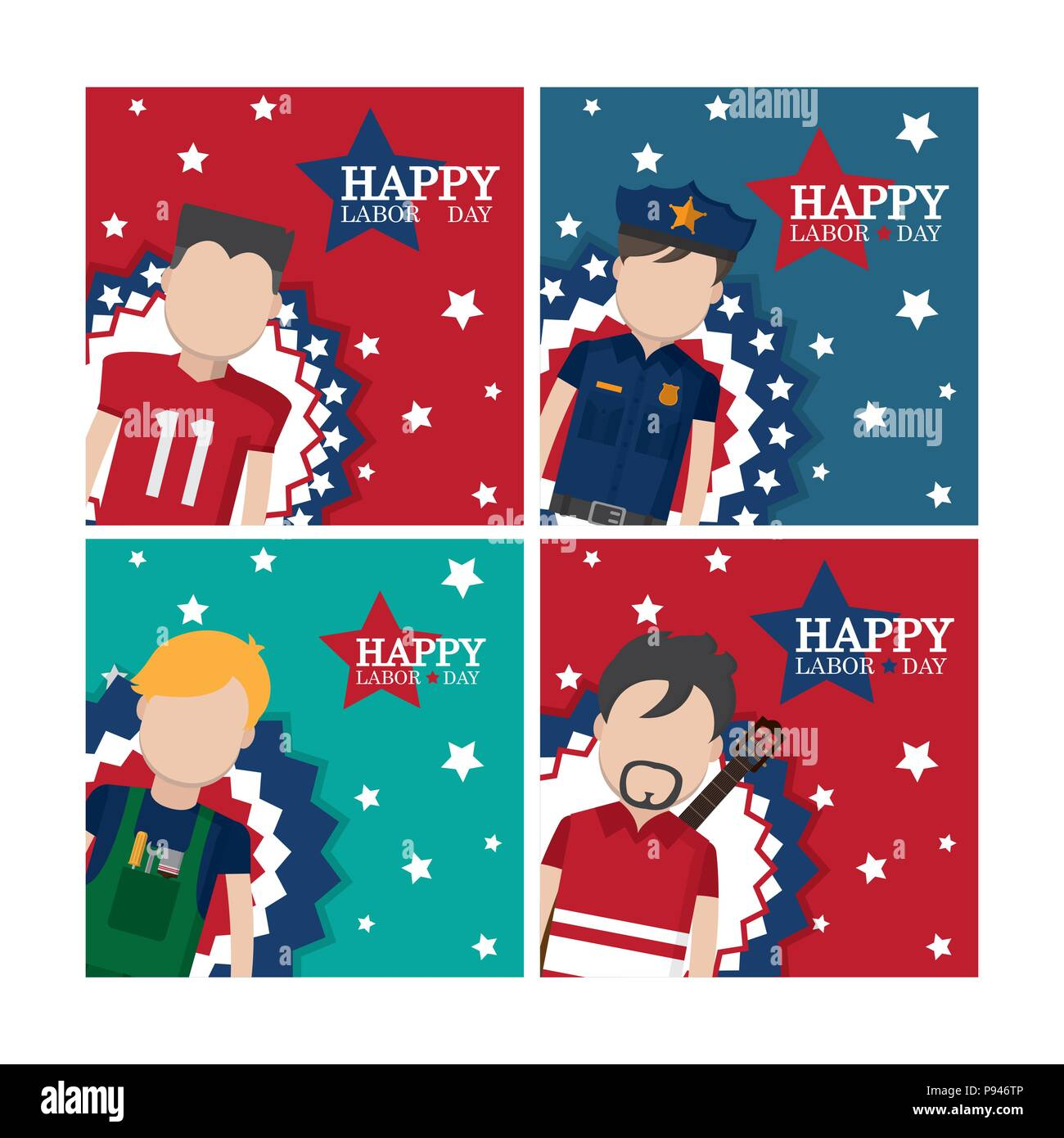 Set Of Happy Labor Day Cards With Workers Cartoons Vector