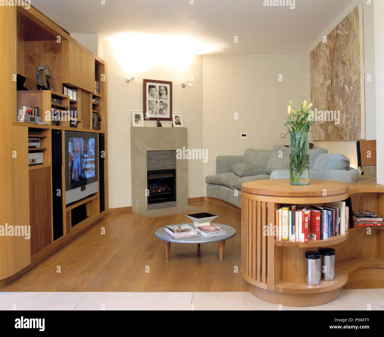Television in built-in bookshelves in small modern living ...