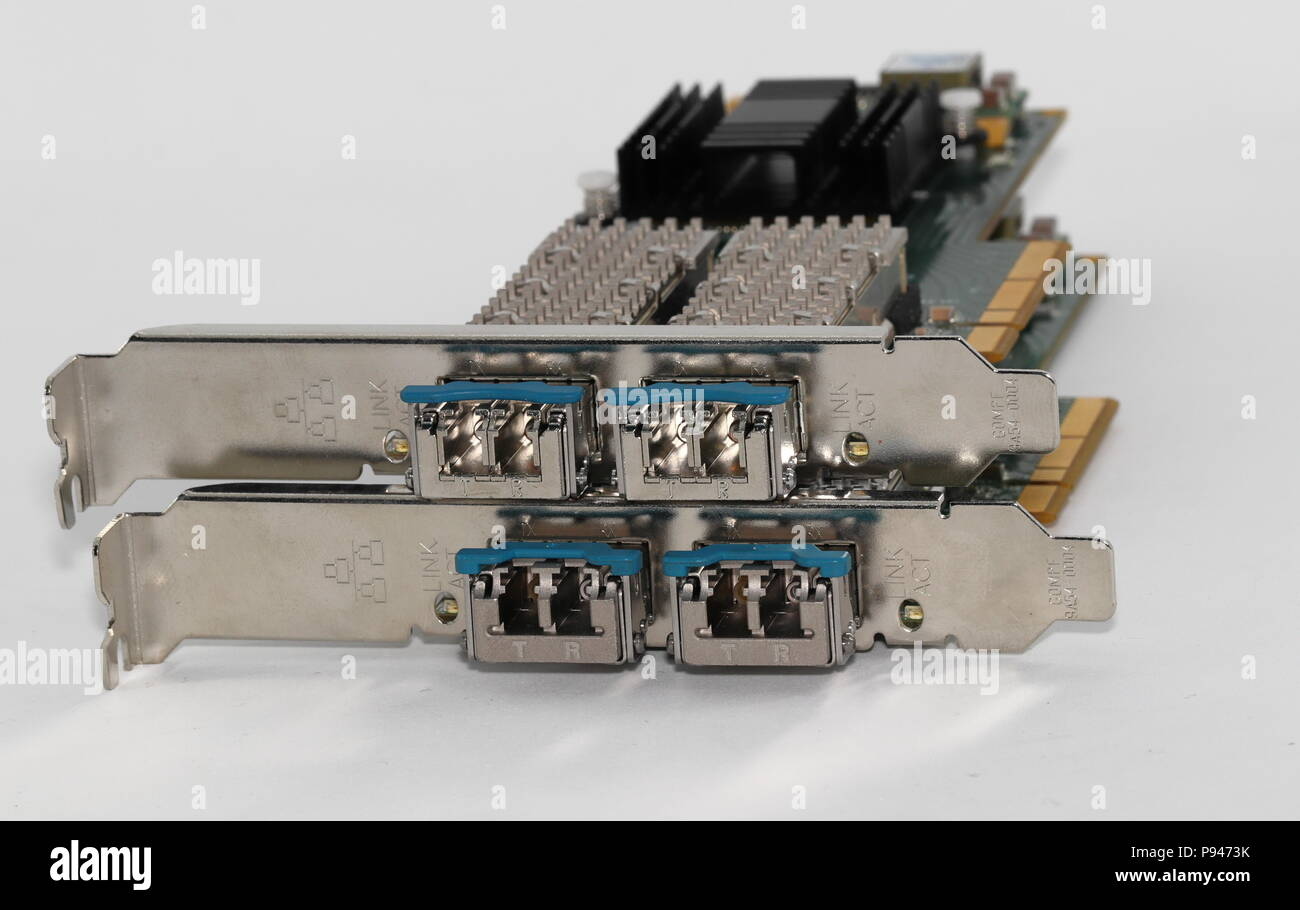 Network controller 10 Gb with Fiber optics LC duplex socket connectors, isolated on white background - Stock Image