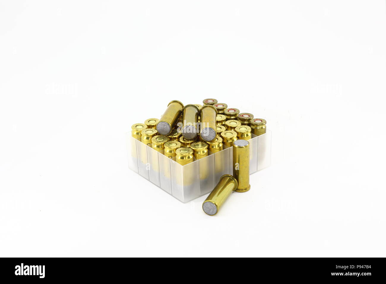 Vareity of bullet 9mm parabellum and .38 Wadcutter isolate on white background - Stock Image