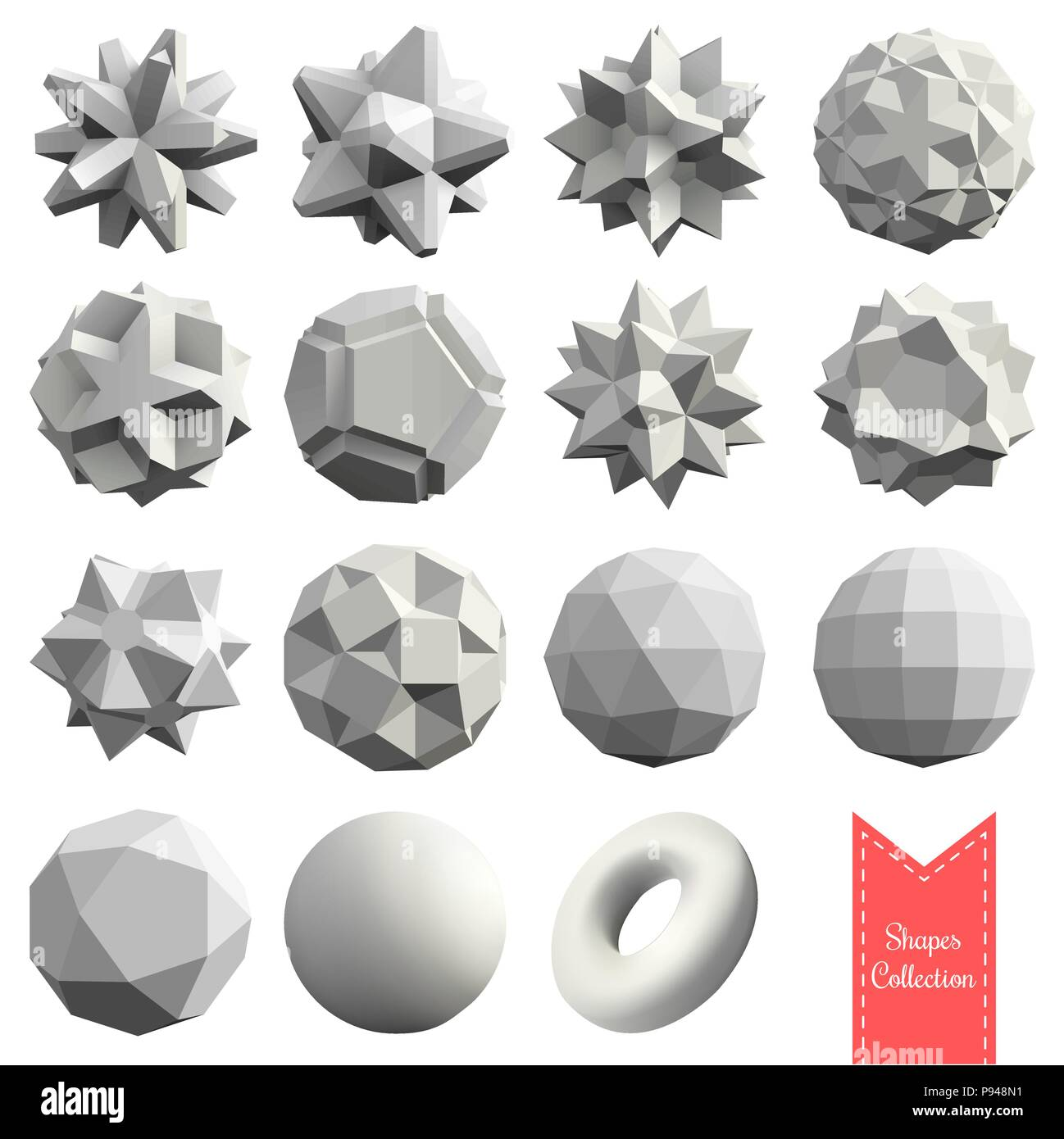 Collection of 15 3d geometric shapes Stock Vector Art & Illustration