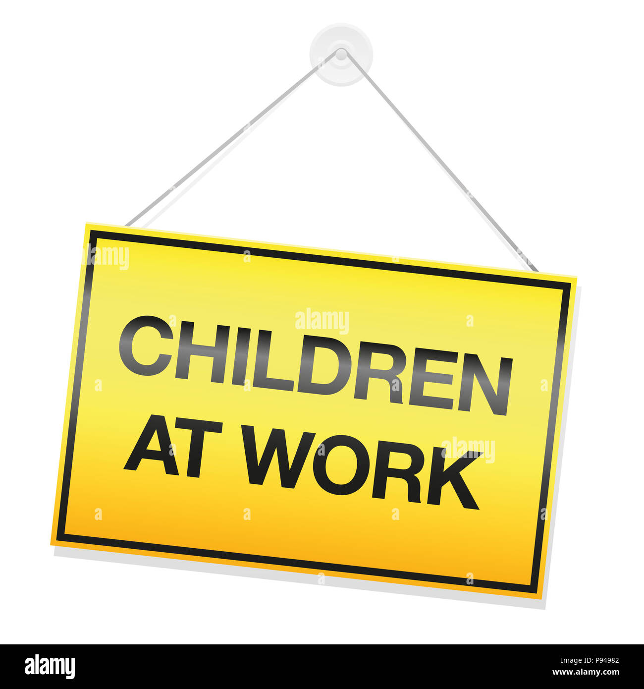 CHILDREN AT WORK signboard. Symbol for children doing their homework or cleaning up their kids room or for involuntary illegal child labor. - Stock Image