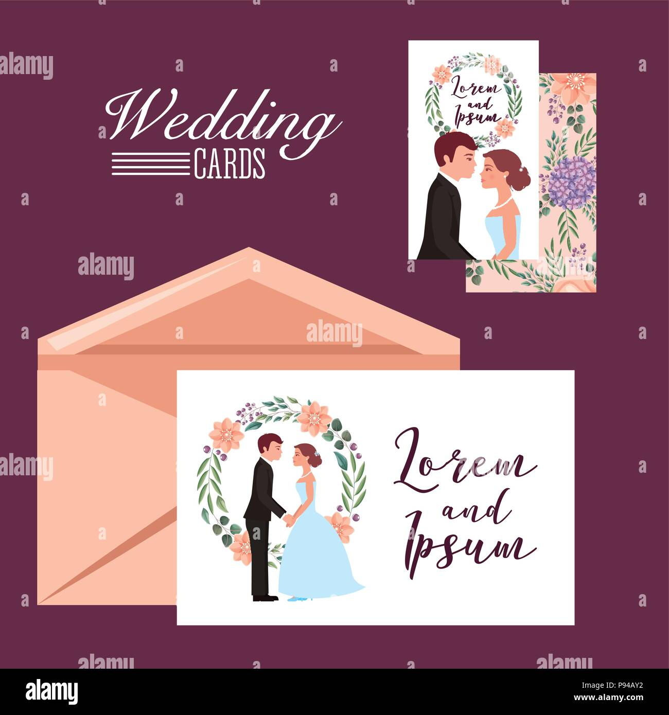 wedding cards couple and flowers decoration envelope template vector