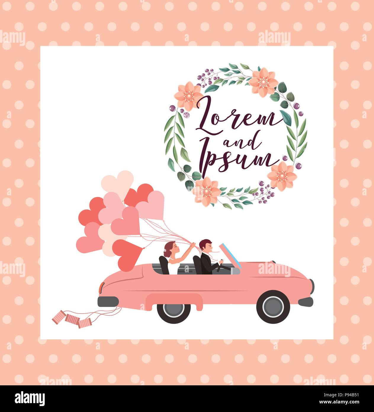 Couple wedding card in convertible car with balloons flowers couple wedding card in convertible car with balloons flowers decoration vector illustration junglespirit Images