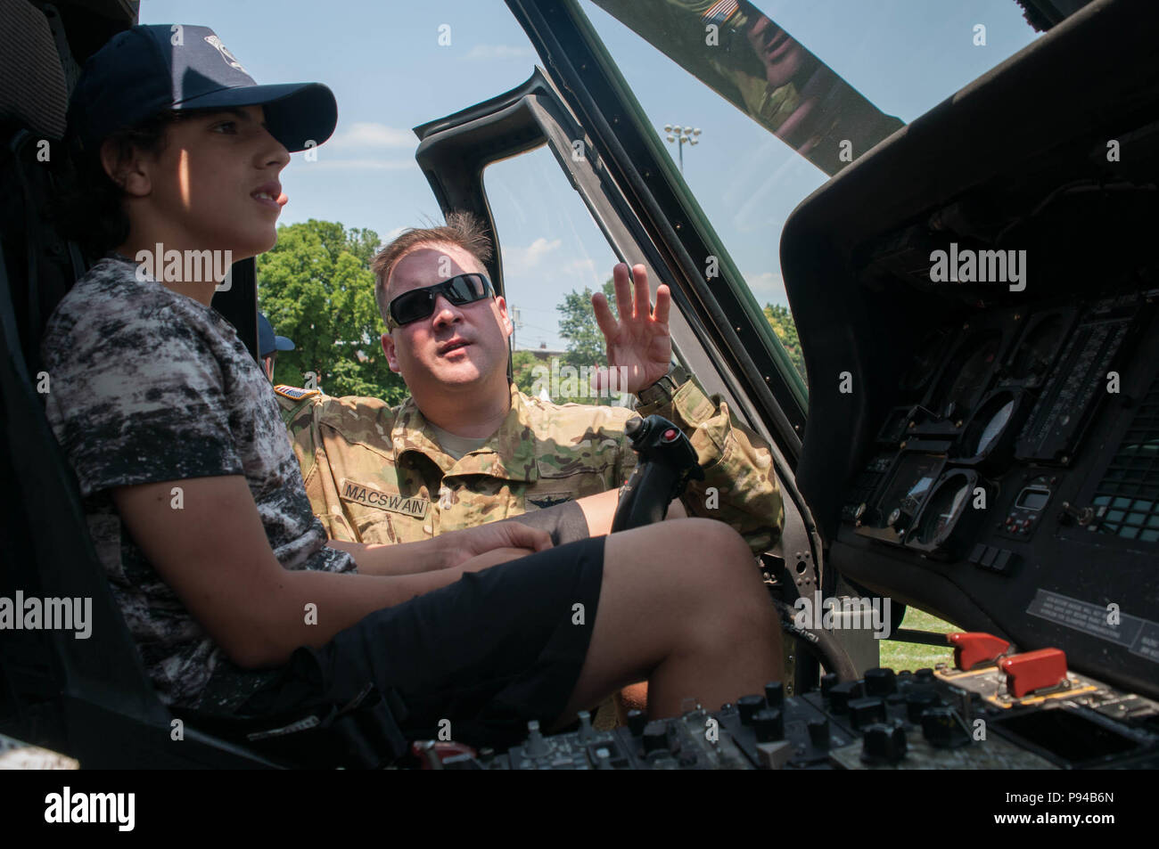BOSTON – Army Chief Warrant Officer Danny MacSwain shows off