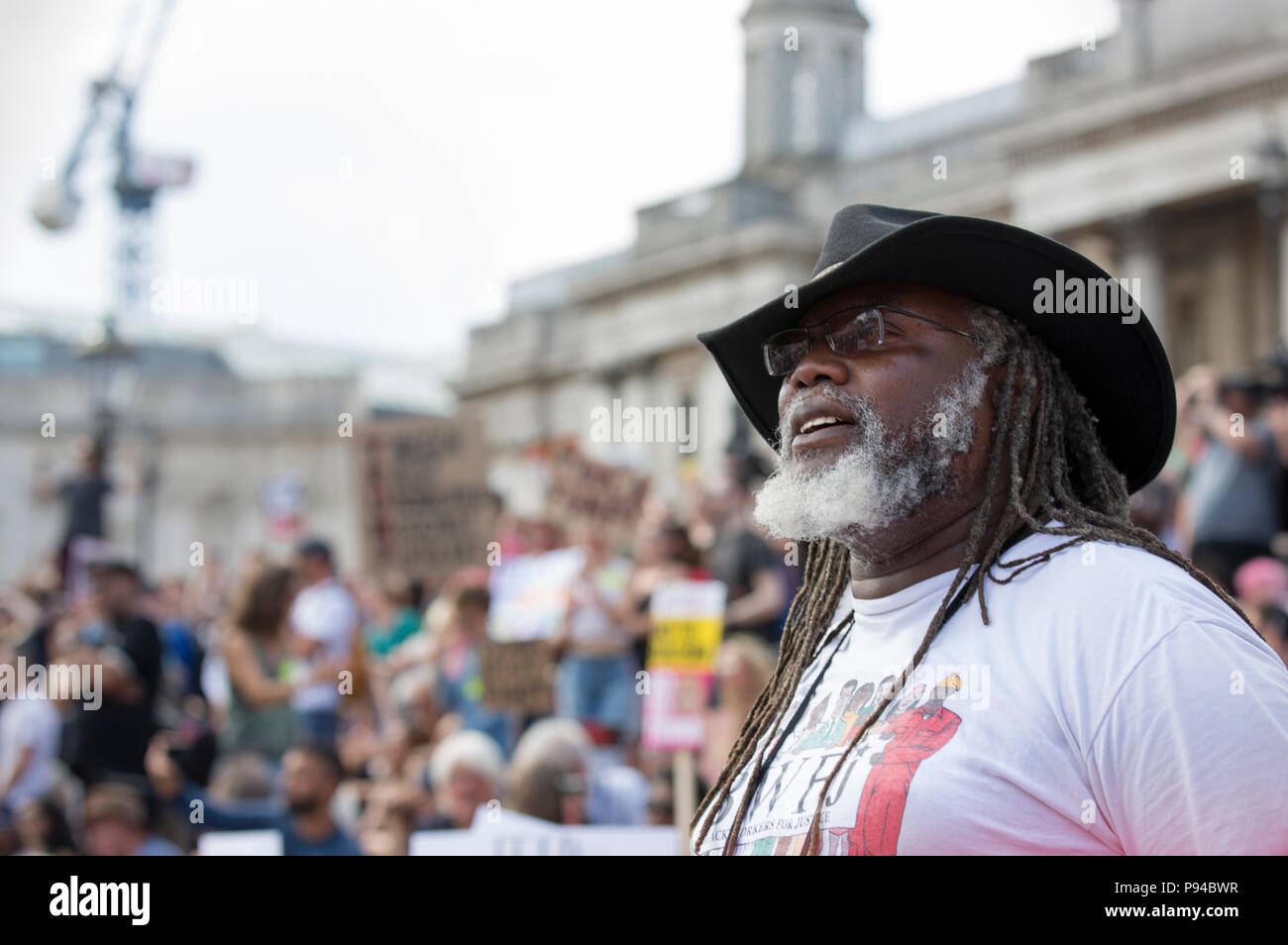 Protesters at the Carnival of Resistance, the anti-Trump protest organised in London, UK on the 13th July 2018. - Stock Image