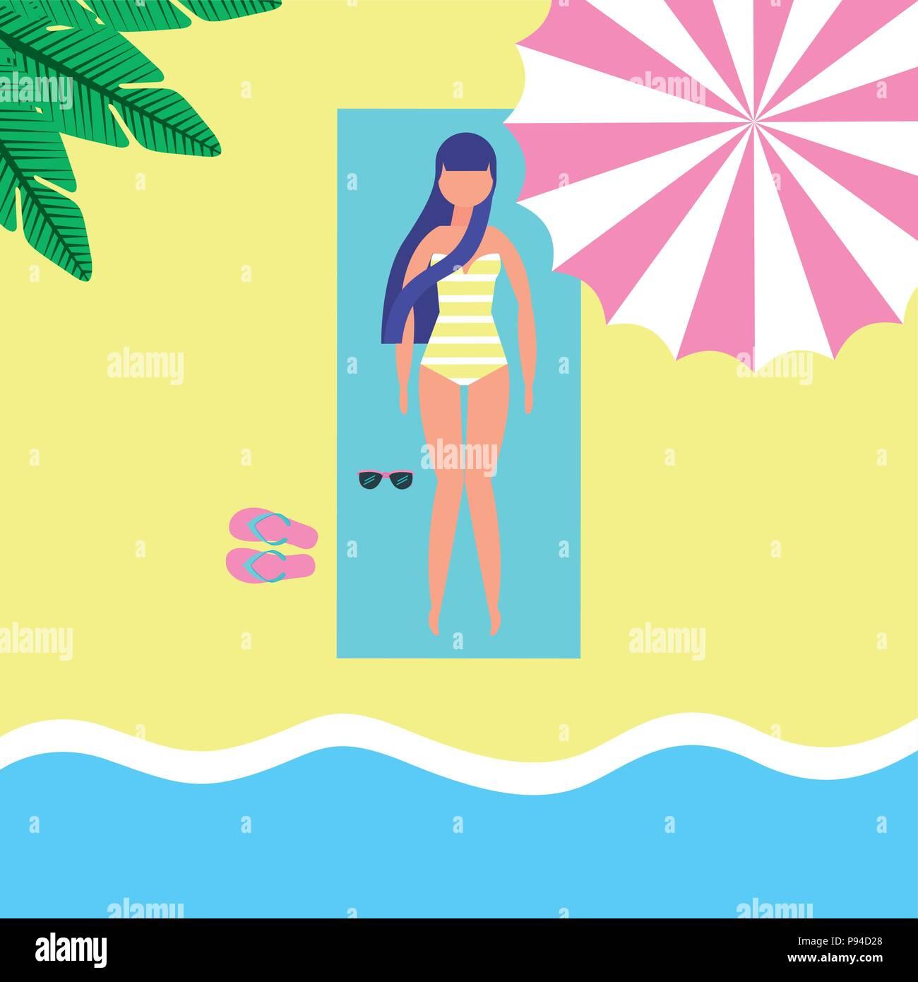 summer time sea beach umbrella girl lying down take a break vector illustration - Stock Vector