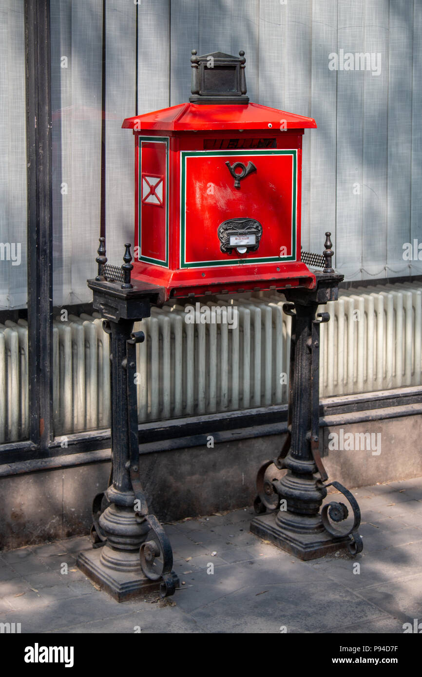 A typical mailbox in the city of Budapest Stock Photo