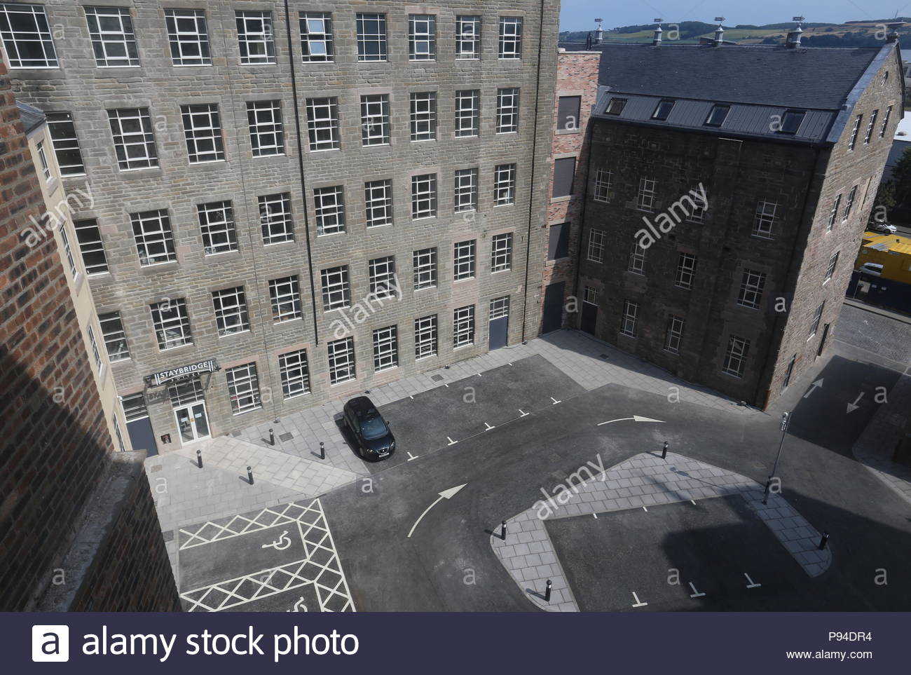 Elevated view of courtyard at Hotel Indigo Dundee Scotland  July 2018 - Stock Image