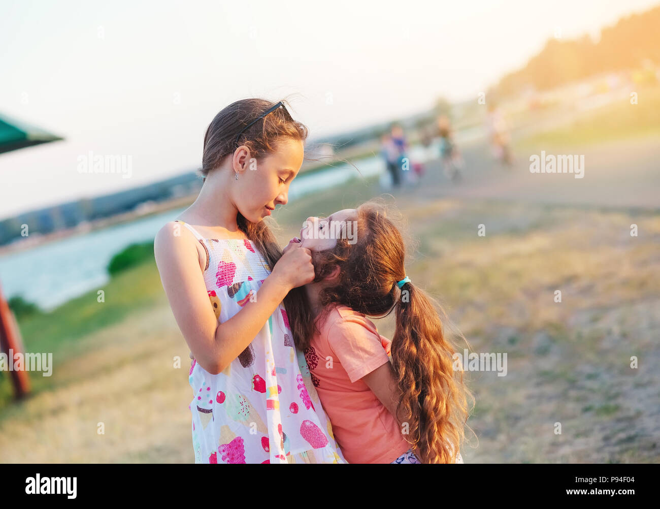 Two Happy little girls having fun and embracing  at meadow at summer day - Stock Image