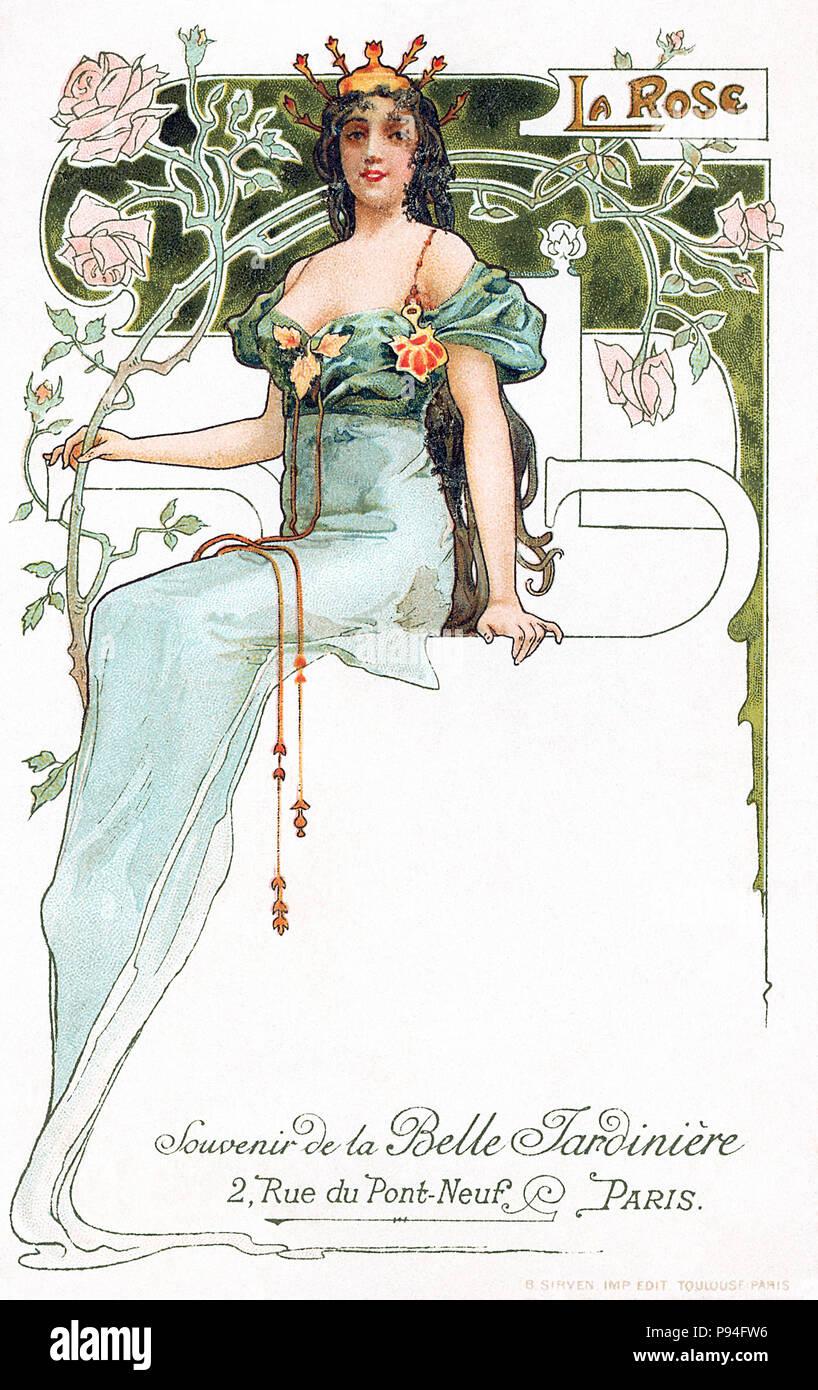 Vintage art nouveau postcard advertising La Belle Jardinière in Paris. - Stock Image
