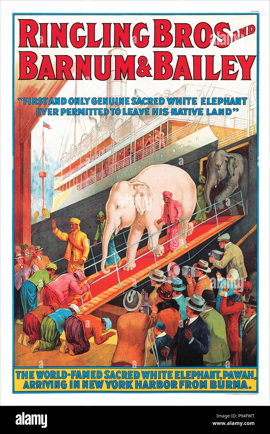 1927 U.S. advertising poster for Ringling Bros and Barnum & Bailey circuses, featuring the white elephant, Pawah. - Stock Image
