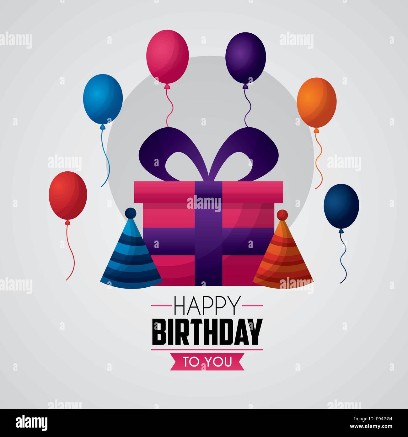 Happy Birthday Card Balloons Gift Box Hats Vector Illustration