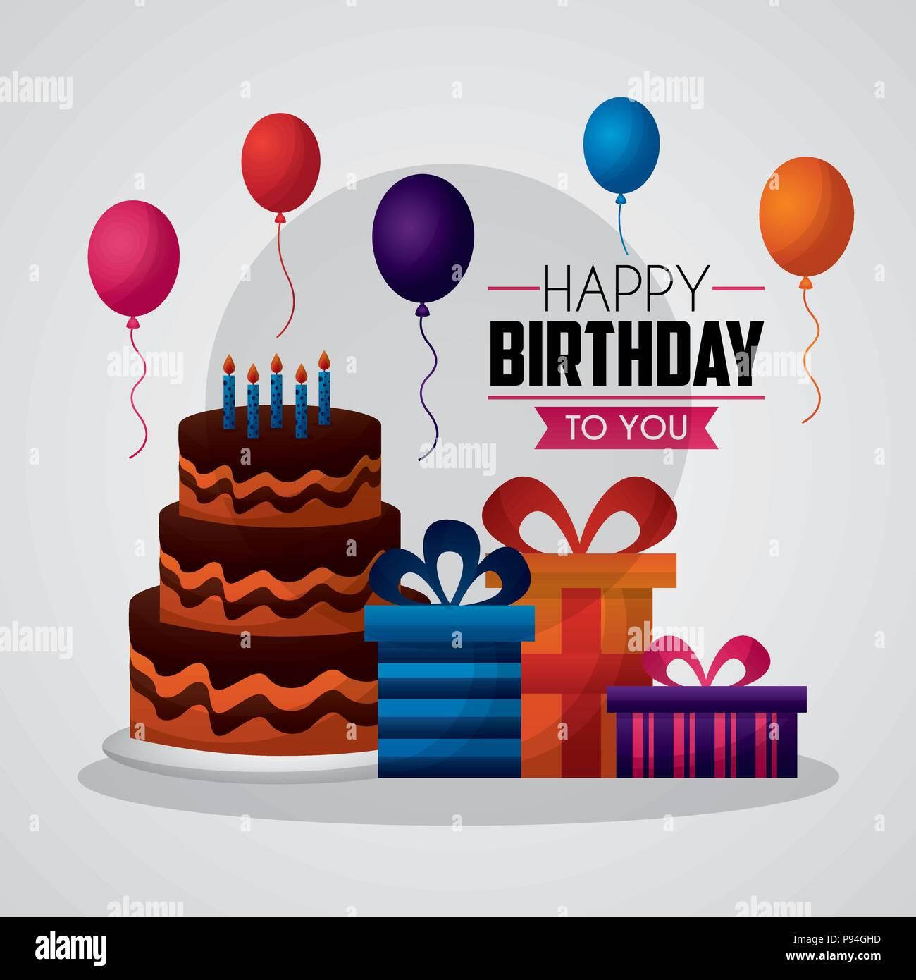 Happy Birthday Card Party Celebrate Balloons Three Story Cake