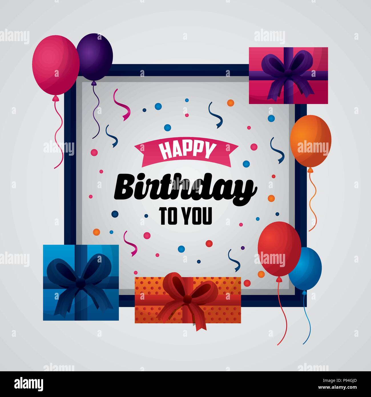 Happy Birthday Card Table Sign Serpentine Confetti Balloons Gift Boxes Vector Illustration