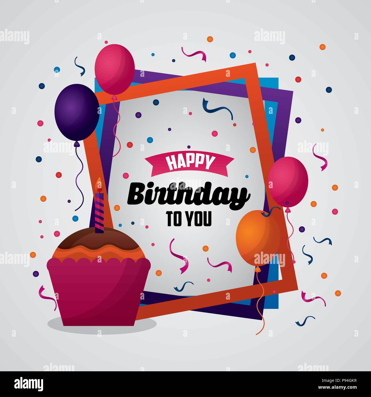 happy birthday card colorful frames sign party fun cake balloons