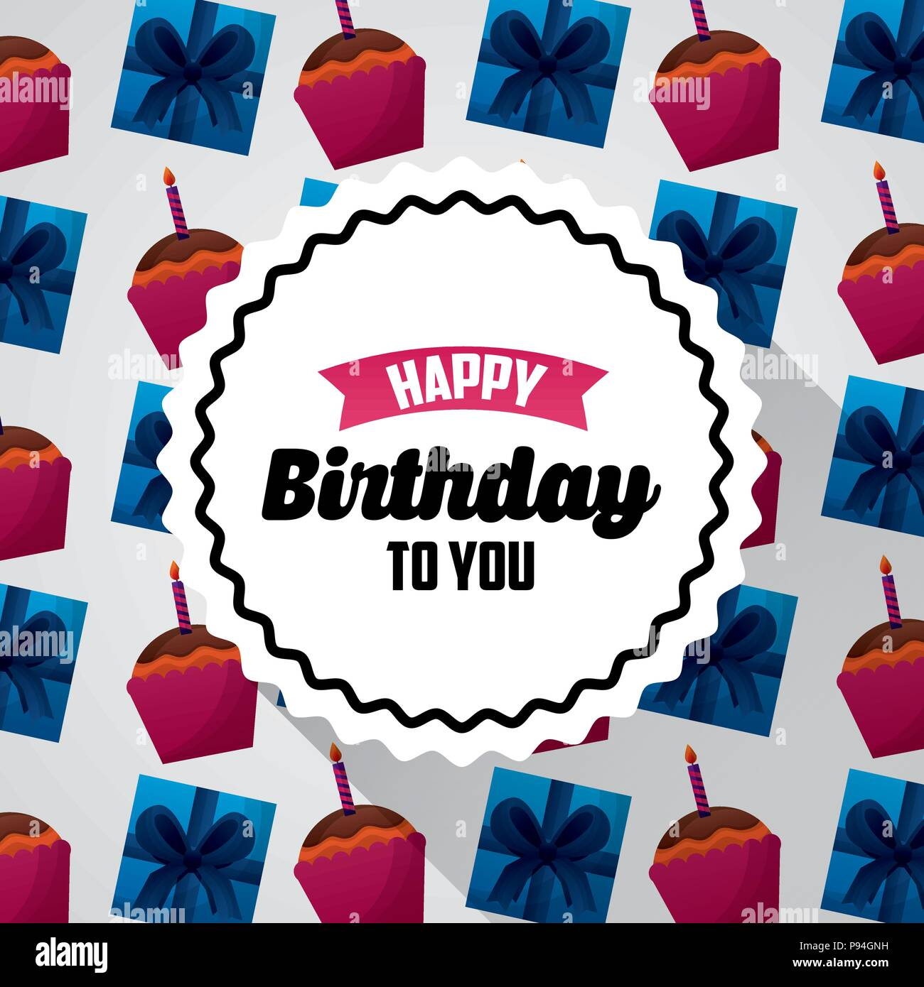 Happy Birthday Card Sticker Sign Ribbon Cakes Gift Boxe Background
