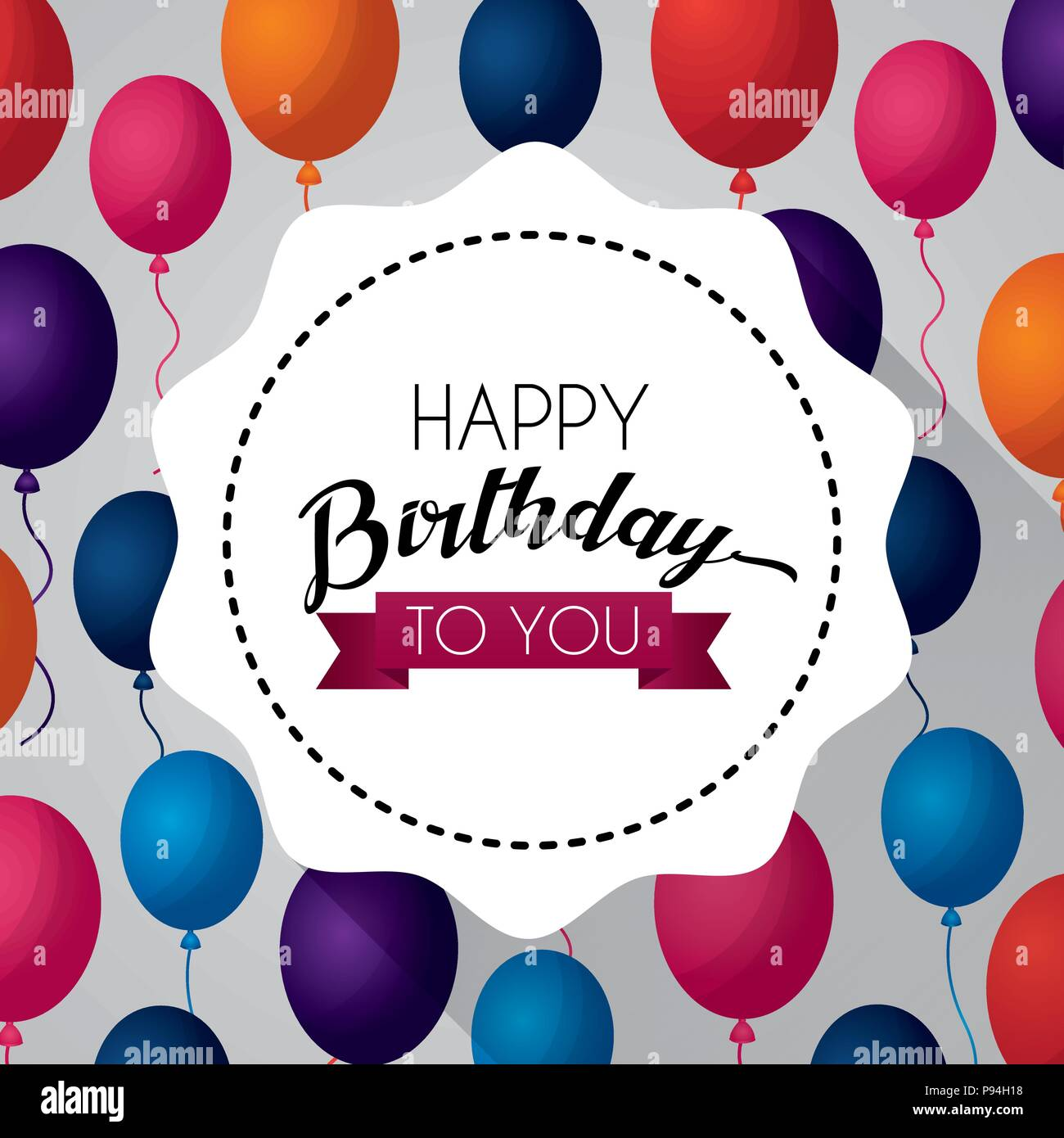 Happy birthday card sticker sign colorsballoons backgorund vector illustration