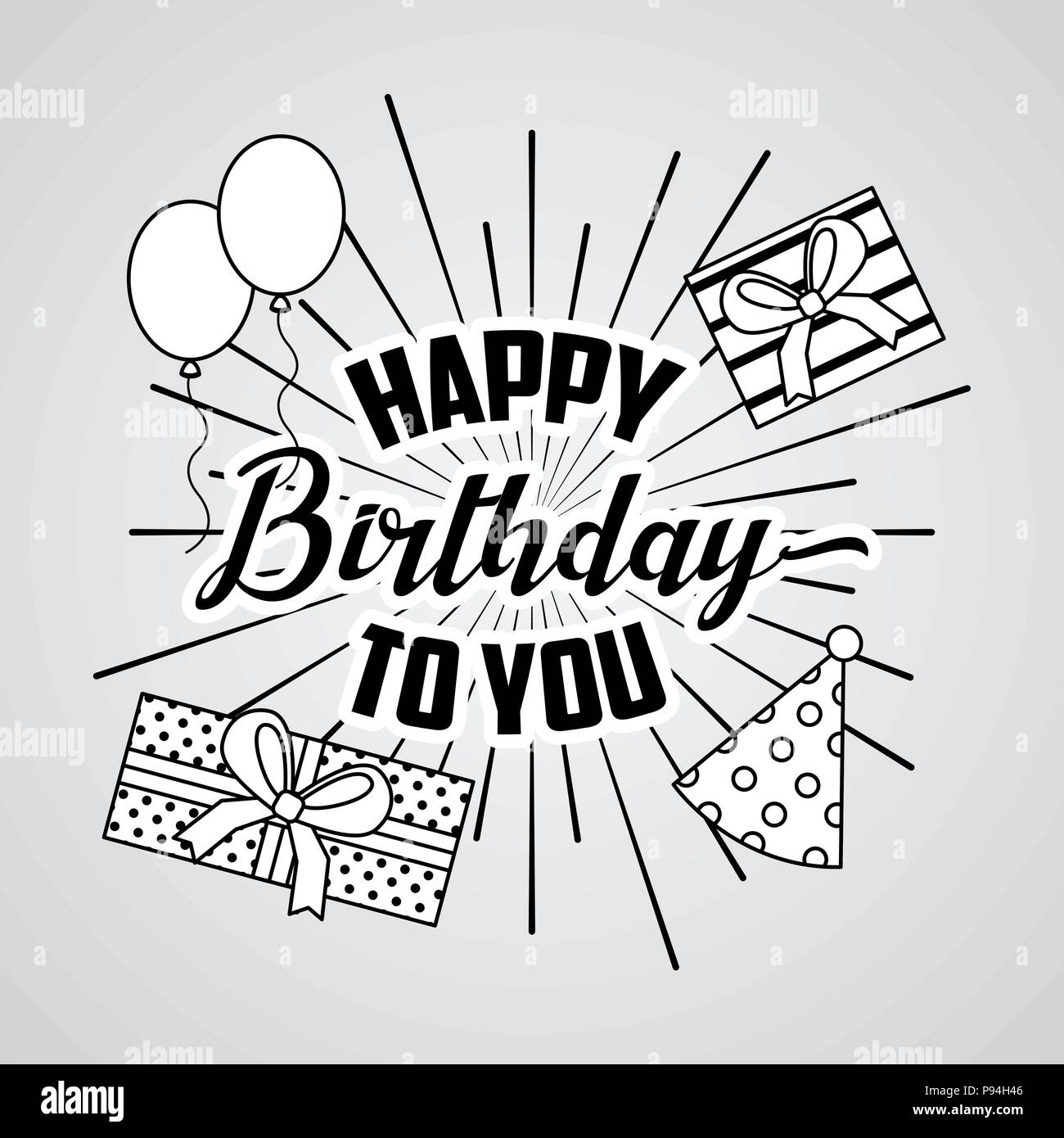 Marvelous Happy Birthday Card Draw T Boxes Hats Balloons Vector Personalised Birthday Cards Bromeletsinfo