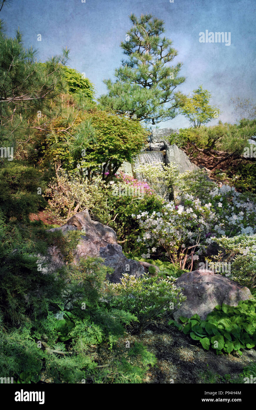 Painterly style backgroud scene with scenic garden and waterfall. Beautiful portrait background. Paint strokes and texture - Stock Image