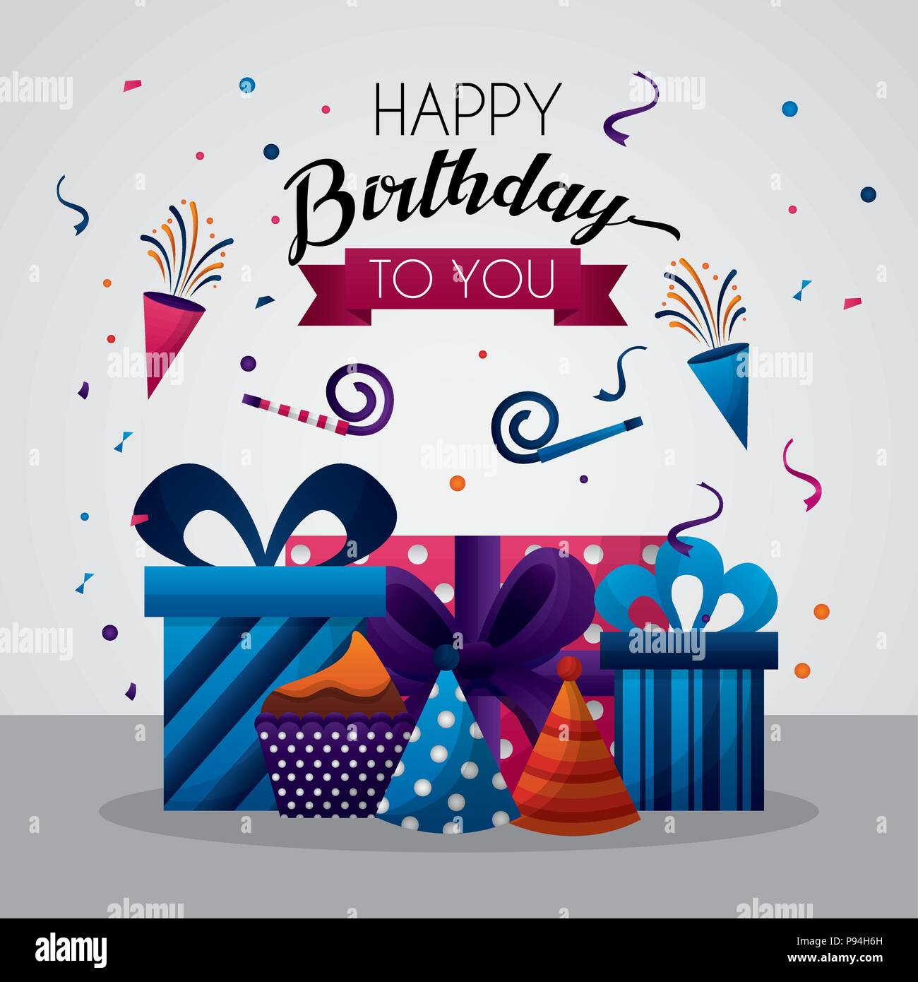 Happy Birthday Card Celebration Party Birth Rockets Hats Gift Boxes Vector Illustration