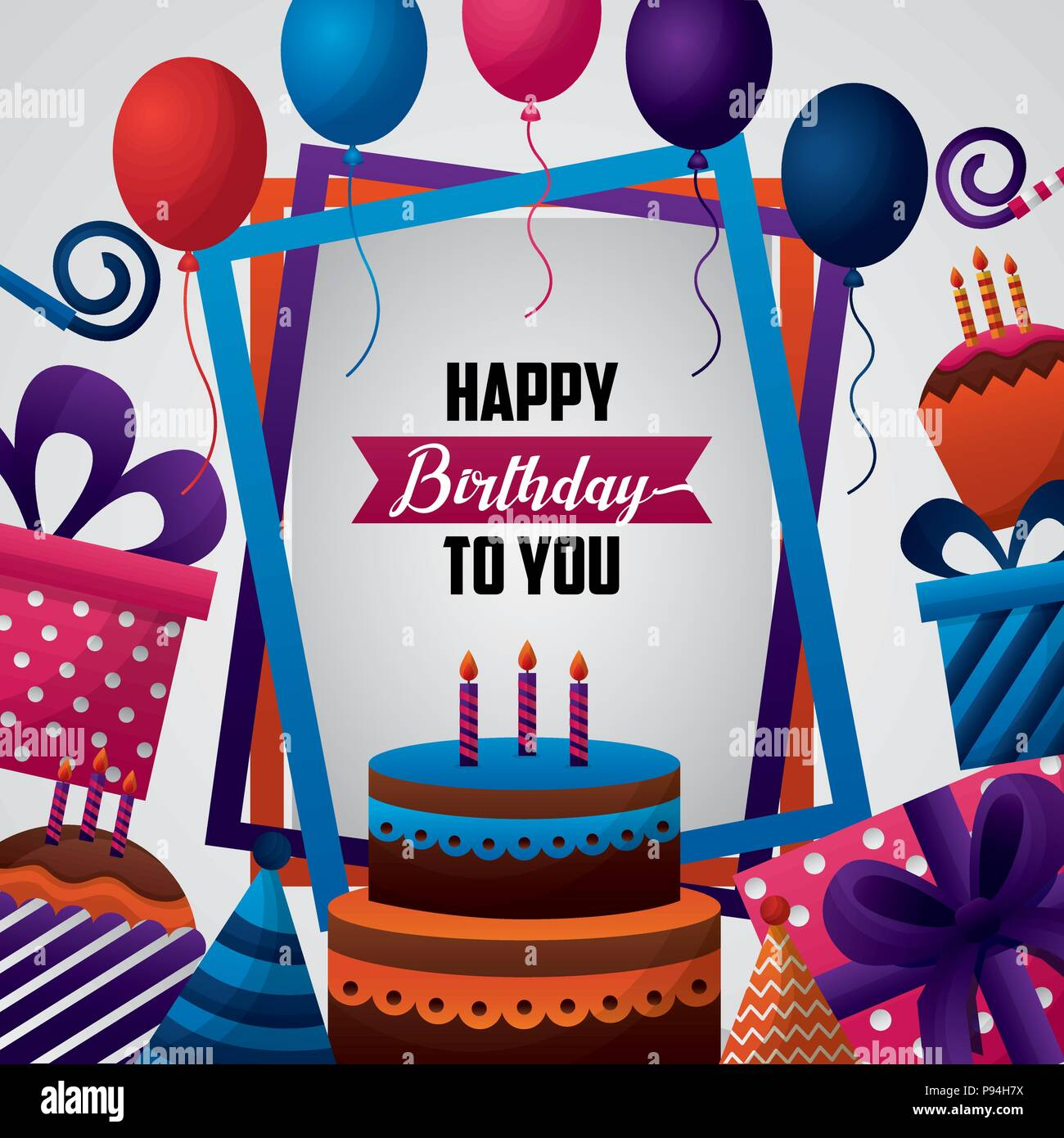 happy birthday card colors frames decoration sign cake candless hats