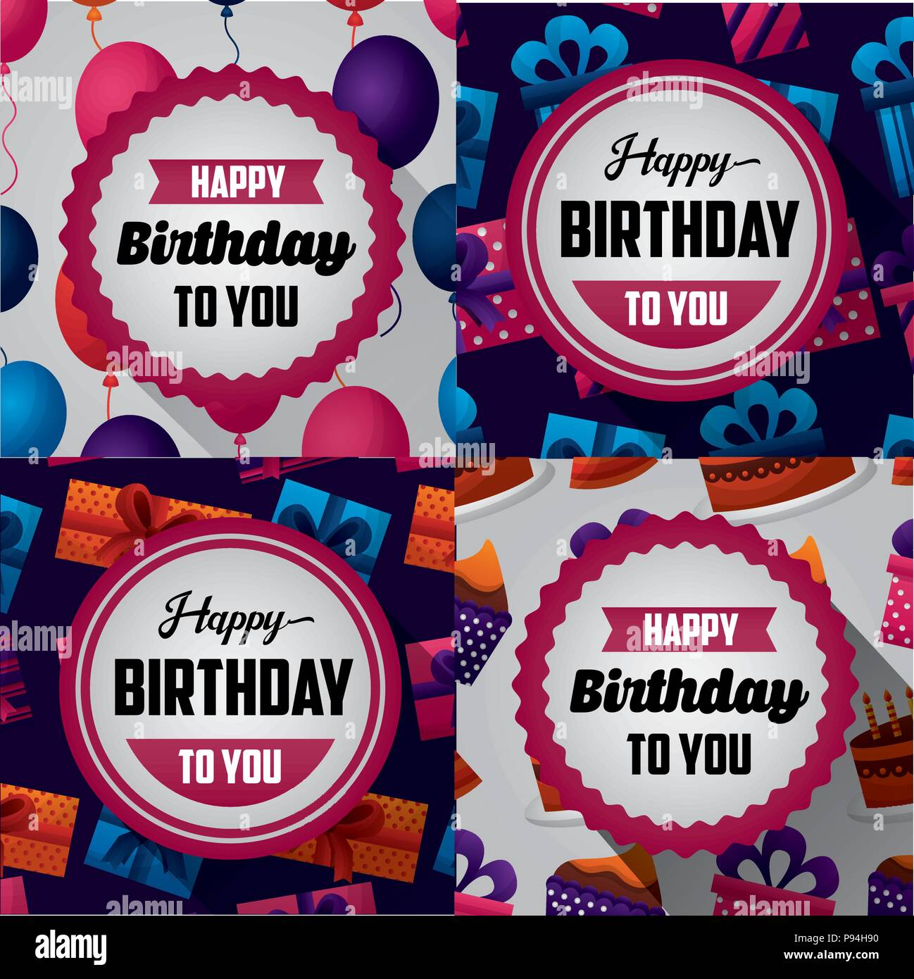 Happy Birthday Card Collorful Banner Stickers Sign Birth To You Day Balloons Gifts Cakes Vector Illustration