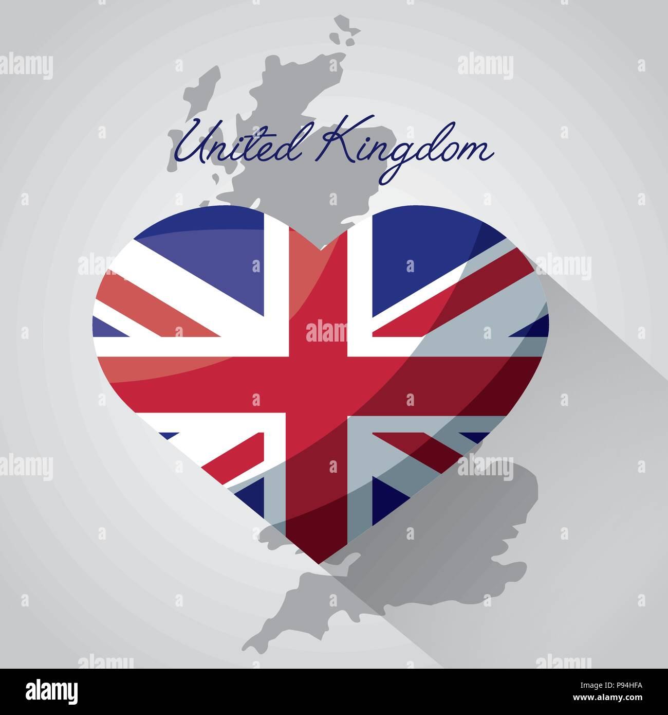 United Kingdom Map Background Heart London Flag Vector Illustration
