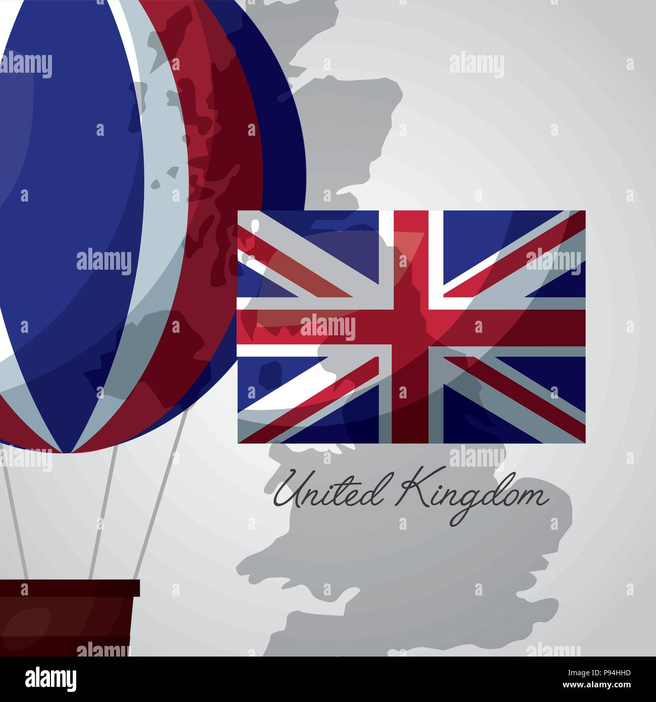 United Kingdom Map Background Hot Air Balloon London Flag Vector Illustration