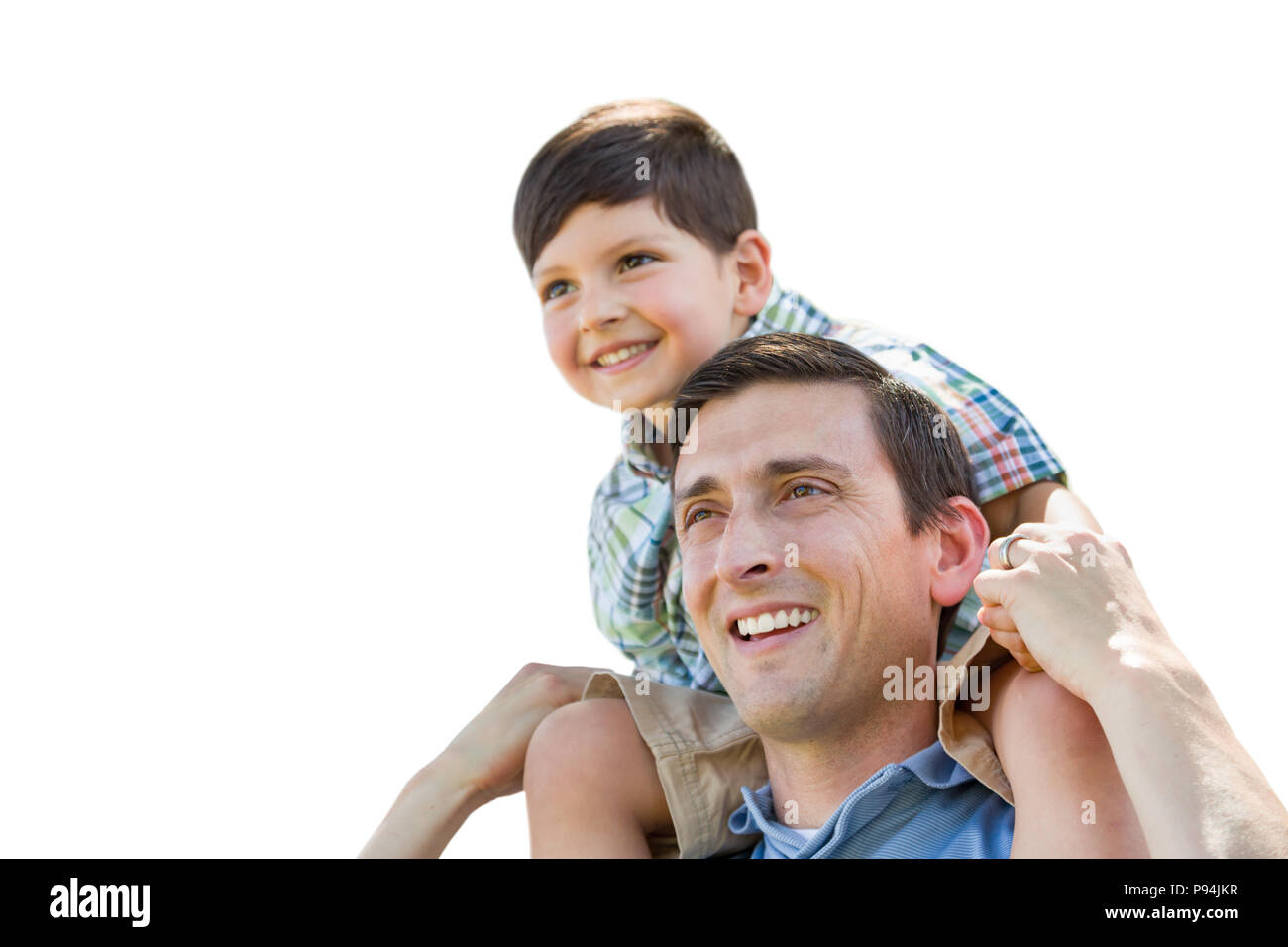 Father and Son Playing Piggyback Isolated on a White Background. - Stock Image