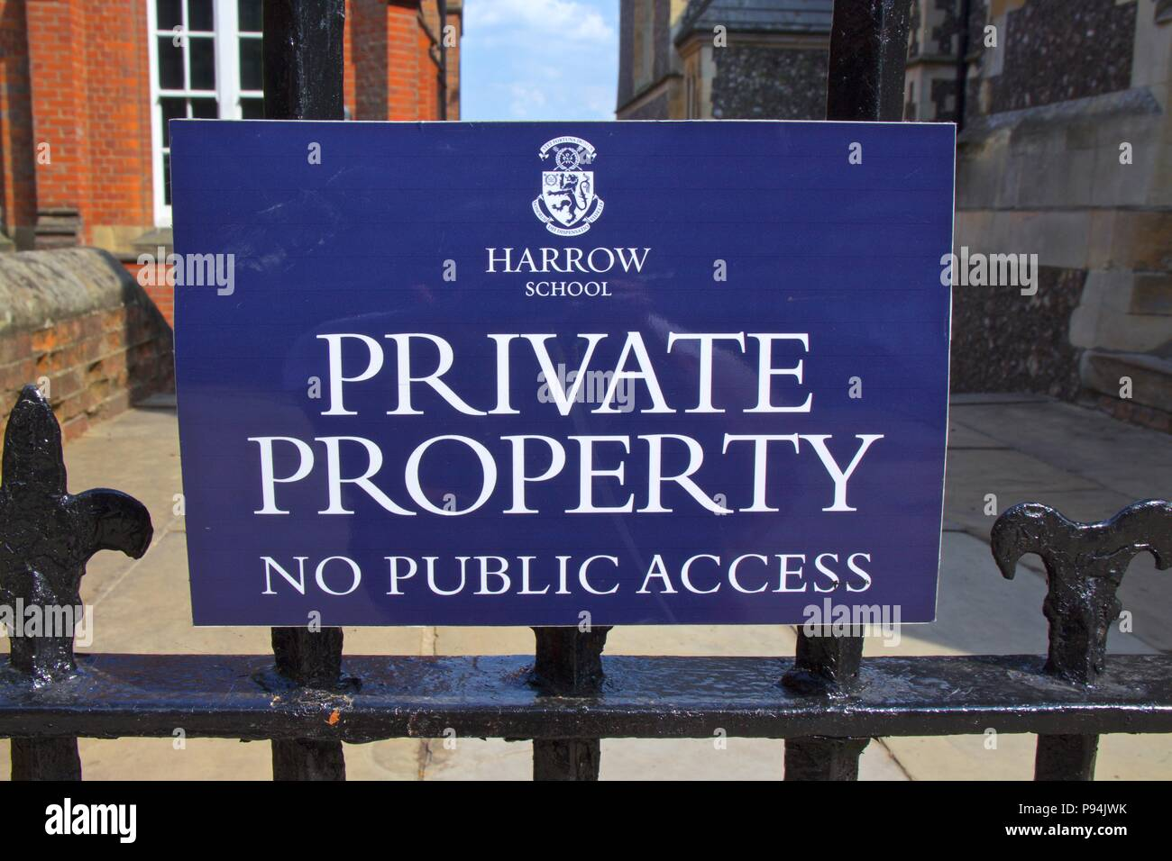 A blue sign at Harrow School which states: Private property, No public access - Stock Image