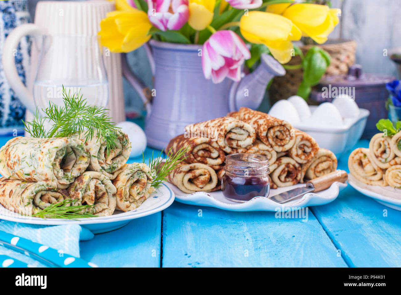 Thin Pancakes For The Spring Russian Holiday With Different Fillings