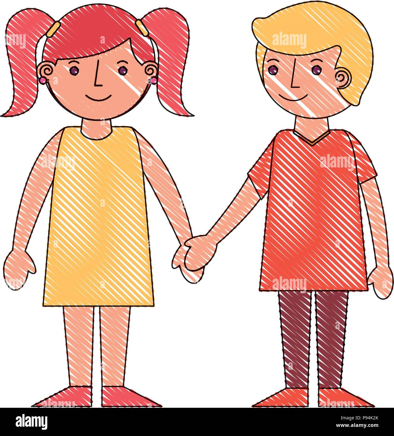 Cute Boy And Girl Holding Hands Friends Vector Illustration Drawing