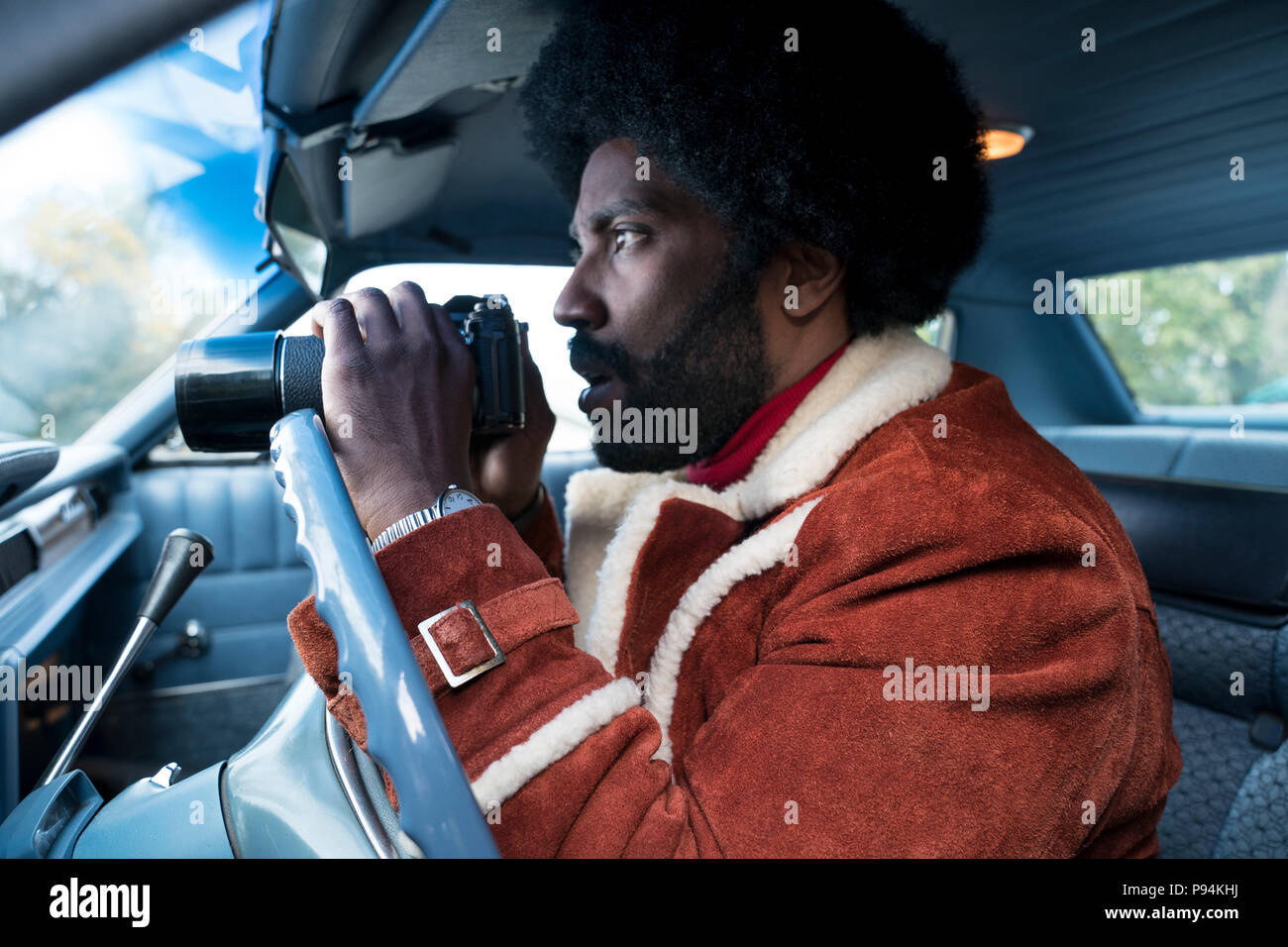 RELEASE DATE: August 10, 2018 TITLE: BlacKkKlansman STUDIO: Focus Features DIRECTOR: Spike Lee PLOT: Ron Stallworth, an African-American police officer from Colorado, successfully managed to infiltrate the local Ku Klux Klan and became the head of the local chapter. STARRING: JOHN DAVID WASHINGTON as Ron Stallworth. (Credit Image: © Focus Features/Entertainment Pictures) - Stock Image