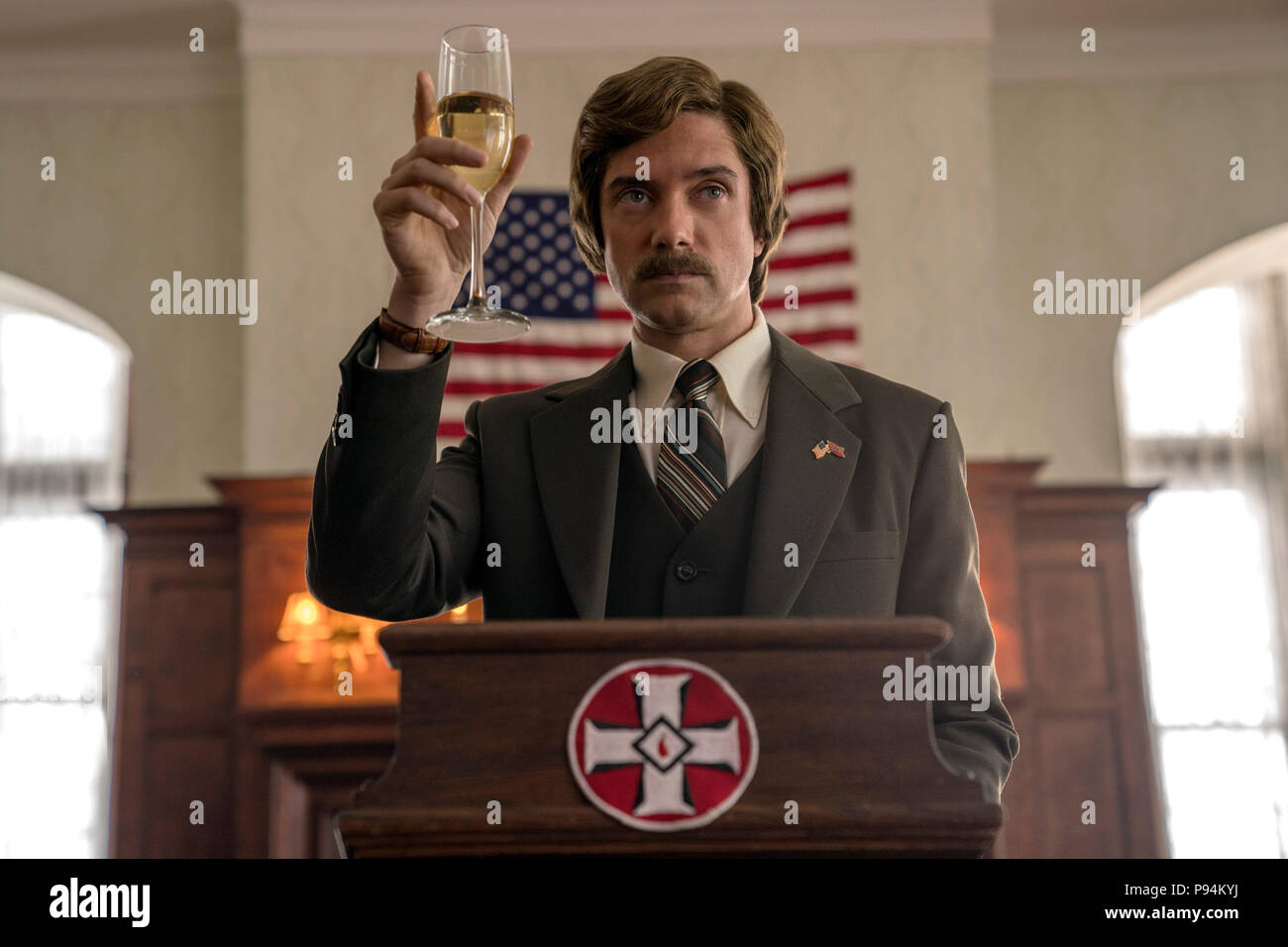 RELEASE DATE: August 10, 2018 TITLE: BlacKkKlansman STUDIO: Focus Features DIRECTOR: Spike Lee PLOT: Ron Stallworth, an African-American police officer from Colorado, successfully managed to infiltrate the local Ku Klux Klan and became the head of the local chapter. STARRING: TOPHER GRACE s David Duke. (Credit Image: © Focus Features/Entertainment Pictures) - Stock Image