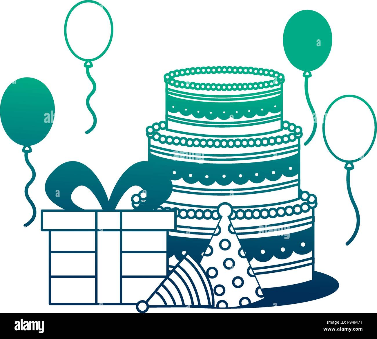 Groovy Birthday Cake And Cupcakes Candles Decoration Vector Illustration Funny Birthday Cards Online Necthendildamsfinfo