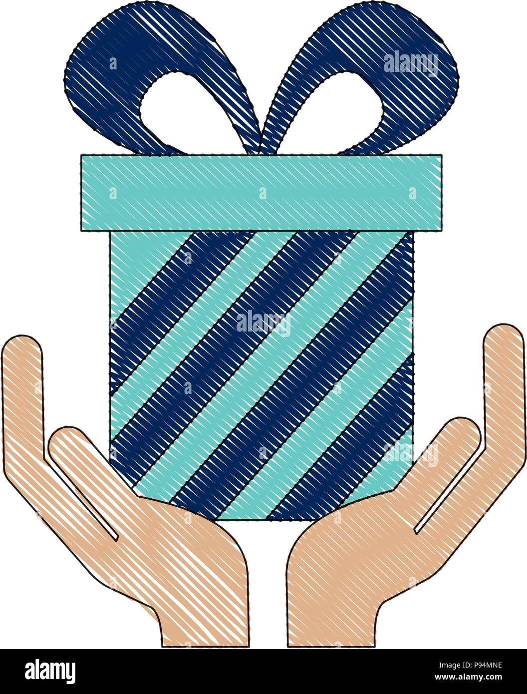 Hands Holding Birthday Gift Box Vector Illustration Drawing Stock