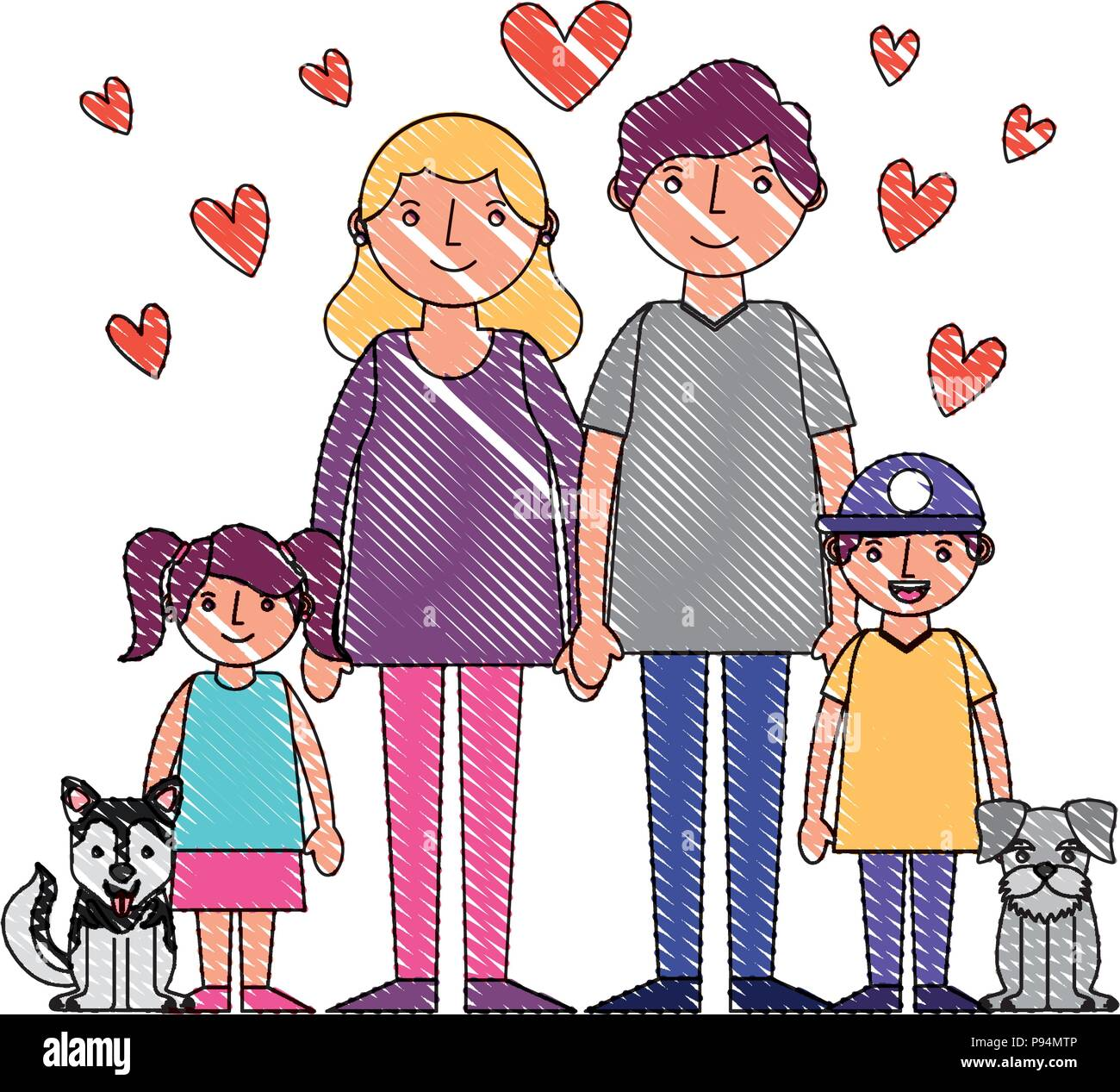 mom dad son daughter and dogs mascot hearts love vector illustration