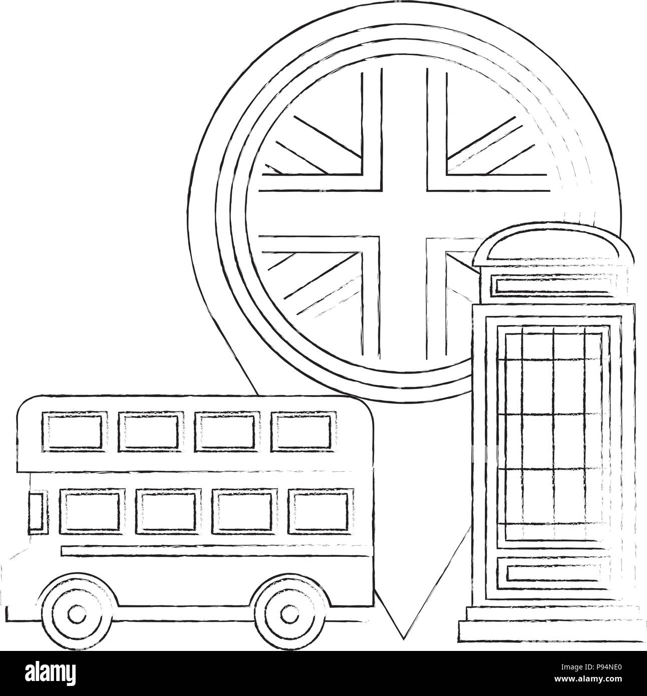 london double decker bus telephone box and flag pin location - Stock Image