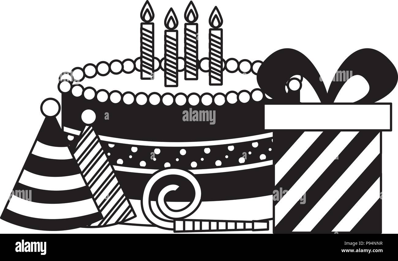 Birthday Cake Gift Box Party Hat And Whistle Stock Vector Image Art Alamy
