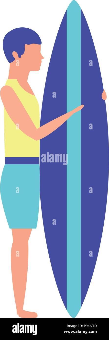 man in swimwear holding surfboard - Stock Vector