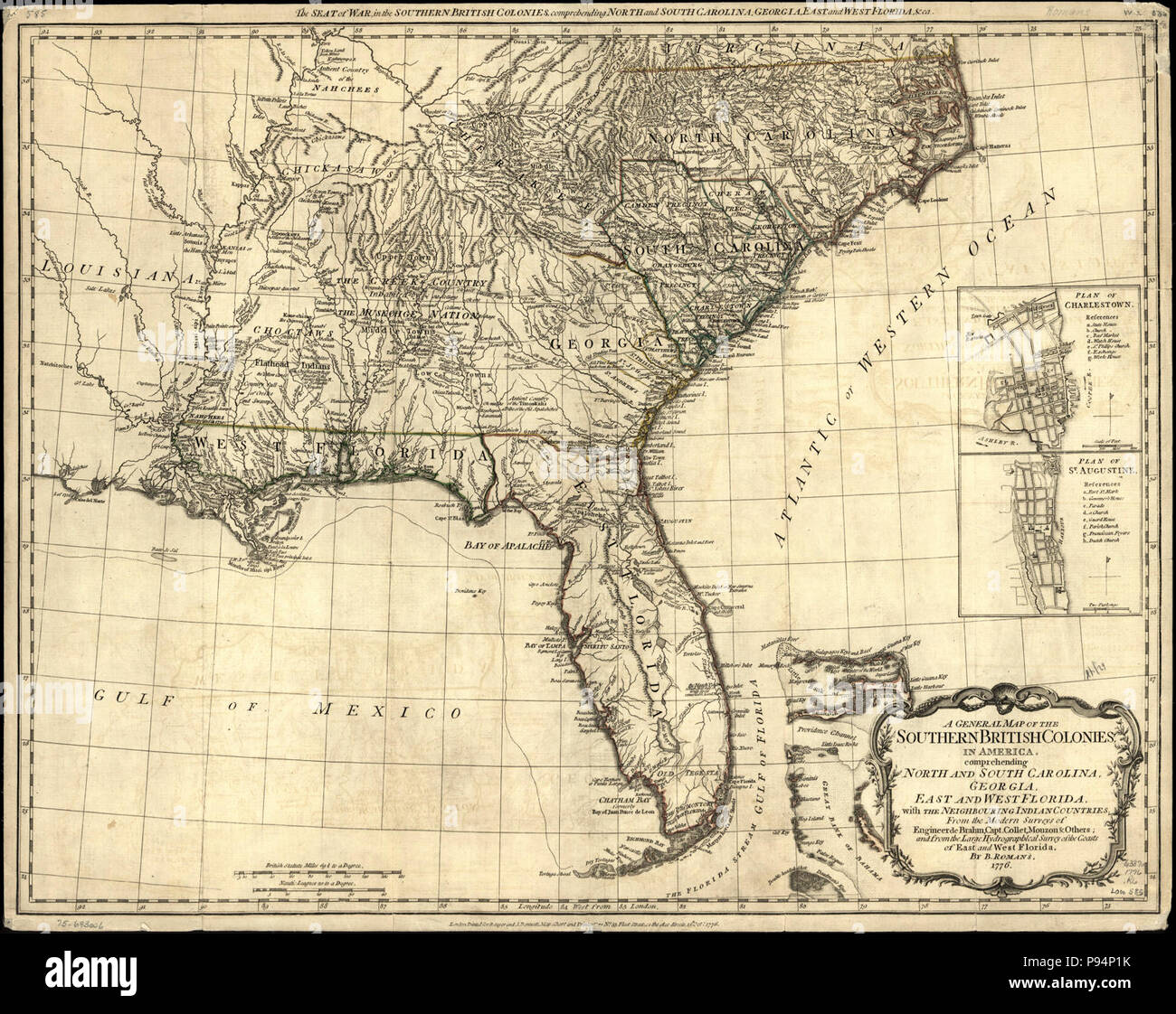 Map Of 75 South In Georgia.A General Map Of The Southern British Colonies In America
